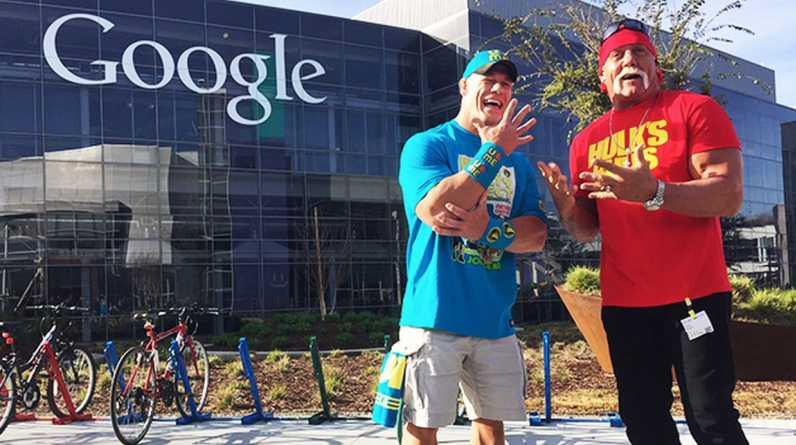 """Las superestrellas de WWE John Cena, Hulk Hogan y Stephanie McMahon tuvieron un """"tour tecnológico"""" para promocionar el evento más grande del año en el mundo de la lucha libre: Wrestlemania. (Foto: Facebook)"""
