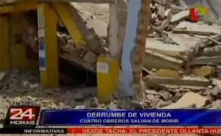 Cuatro obreros salvan de morir en derrumbe en Cercado de Lima
