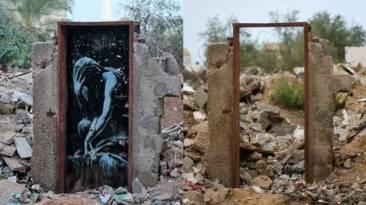 Un palestino vende un mural de Banksy en Gaza por 180 dólares