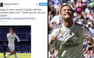"Cristiano Ronaldo festejó vía twitter: ""Feliz por los 5 goles"""