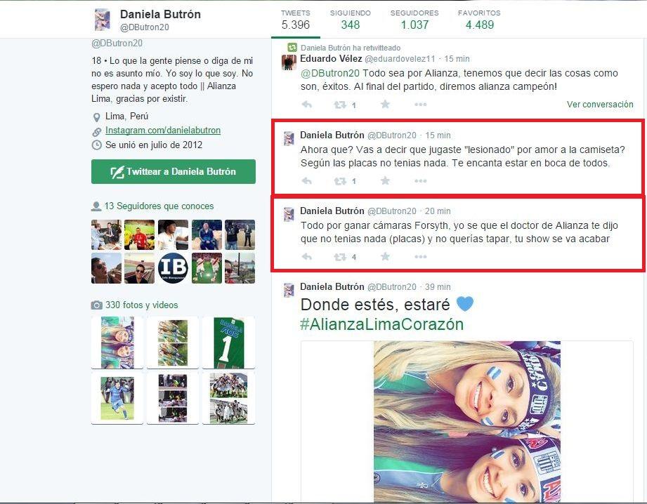 Supuestos tuits de Daniela Butrón. (Foto: Captura Twitter)
