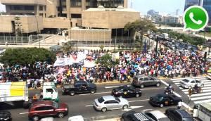 WhatsApp: manifestantes provocaron congestión en San Isidro