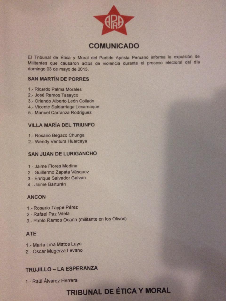 Relación de los 18 militantes expulsados.