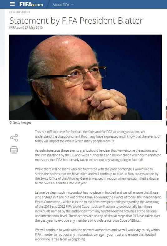 Blatter habló sobre el escándalo. (Foto: Reuters)