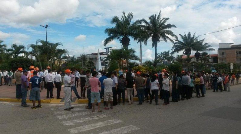 El primer simulacro nacional de sismo y tsunami del año se realizó el viernes desde las 3 p.m. Imagen del ejercicio preventivo en Tarapoto. (Foto: @monich16)