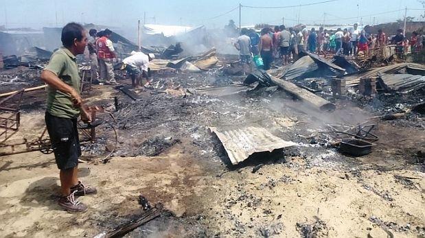 Sullana: incendio en asentamiento humano deja 45 damnificados