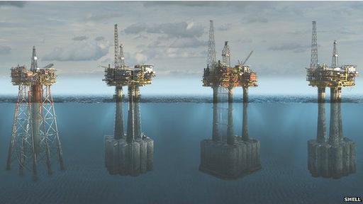 Plataformas de Shell en el campo petrolero de Brent, en el Mar del Norte: de izquierda a derecha, Alpha, Bravo, Charlie, Delta.