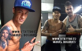Neymar luce nuevo tatuaje con la cara de su hermana Rafaella