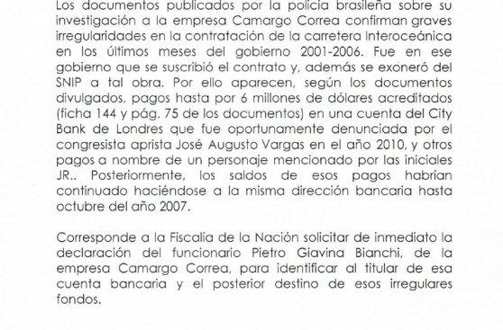 Apra pide investigar presuntos pagos de empresa brasileña