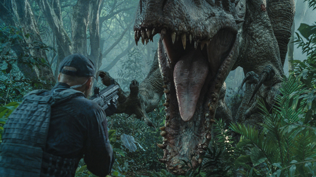 This photo provided by Universal Pictures shows, Indominus Rex about to attack in a scene from the film,