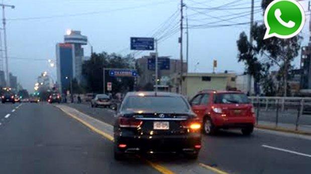 WhatsApp: auto de la PCM burla reglas de tránsito en San Isidro