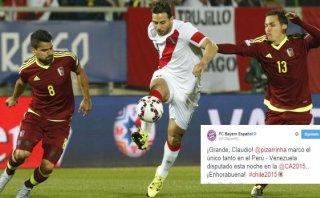 Claudio Pizarro: Bayern Múnich lo felicitó por su gol con Perú