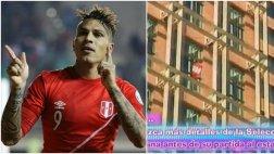 Paolo Guerrero colgó la bandera peruana en ventana de su cuarto