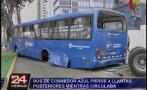 San Isidro: bus de corredor azul perdió llantas en plena marcha