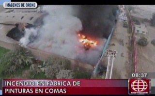 El impresionante incendio en Comas visto desde un drone [VIDEO]