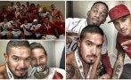 La celebración de los jugadores en el vestuario de Perú