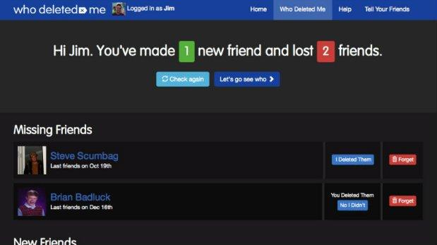 Facebook dice que aplicación 'Who Deleted Me' no es segura