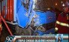 Panamericana Sur: se le salió una llanta y causó triple choque