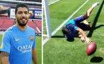 Luis Suárez se luce en prácticas del Barcelona ¿como arquero?