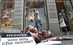 Animalistas protestan contra la marca Hermes en Italia y Japón