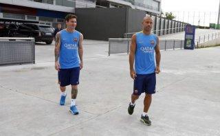 Lionel Messi cortó sus vacaciones y entrenó en el Barcelona