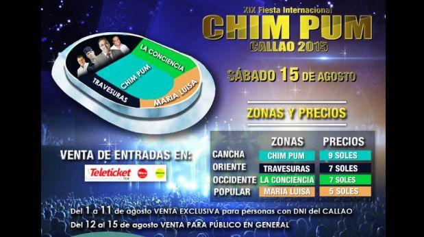 Zonas y precios de las entradas para el Chim Pum Callao 2015. (Foto: difusión)