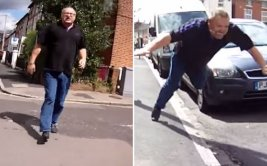 Chofer sufrió aparatosa caída por agredir a ciclista [VIDEO]