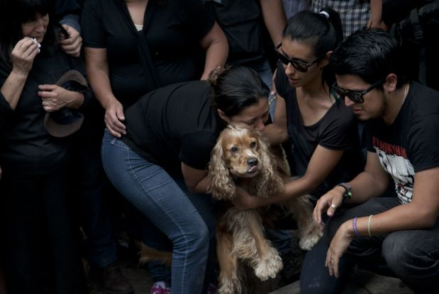 Family and friends embrace Cosmos, the dog of murdered photojournalist Ruben Espinosa during his funeral service in Mexico City, Monday, Aug. 3, 2015. With an investigation barely underway, Mexican journalist protection groups are already expressing fears that authorities won't consider Espinosa's brutal killing as being related to his work - even though he fled the state he covered fearing for his safety. Espinosa, 31, worked for the investigative magazine Proceso and other media in Veracruz state. (AP Photo/Marco Ugarte)