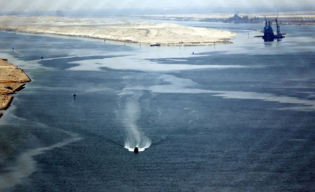 A general view of the Suez Canal is seen from Al Salam