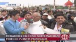 Los Olivos: vecinos exigen un paso peatonal en óvalo Infantas - Noticias de municipalidad de los olivos