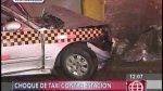 SJM: dos atrapados tras choque de taxi con estación del metro - Noticias de accidente de transito