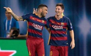 Extraordinaria jugada entre Messi y Alves que da qué hablar
