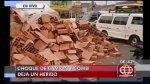 Los Olivos: choque de camión y combi bloqueó tránsito por horas - Noticias de accidente de transito