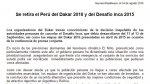 Dakar 2016: organización se expresó sobre cancelación de prueba - Noticias de fenómeno climático la niña