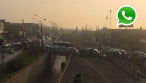 WhatsApp: combis bloquean tránsito en puente Huachipa