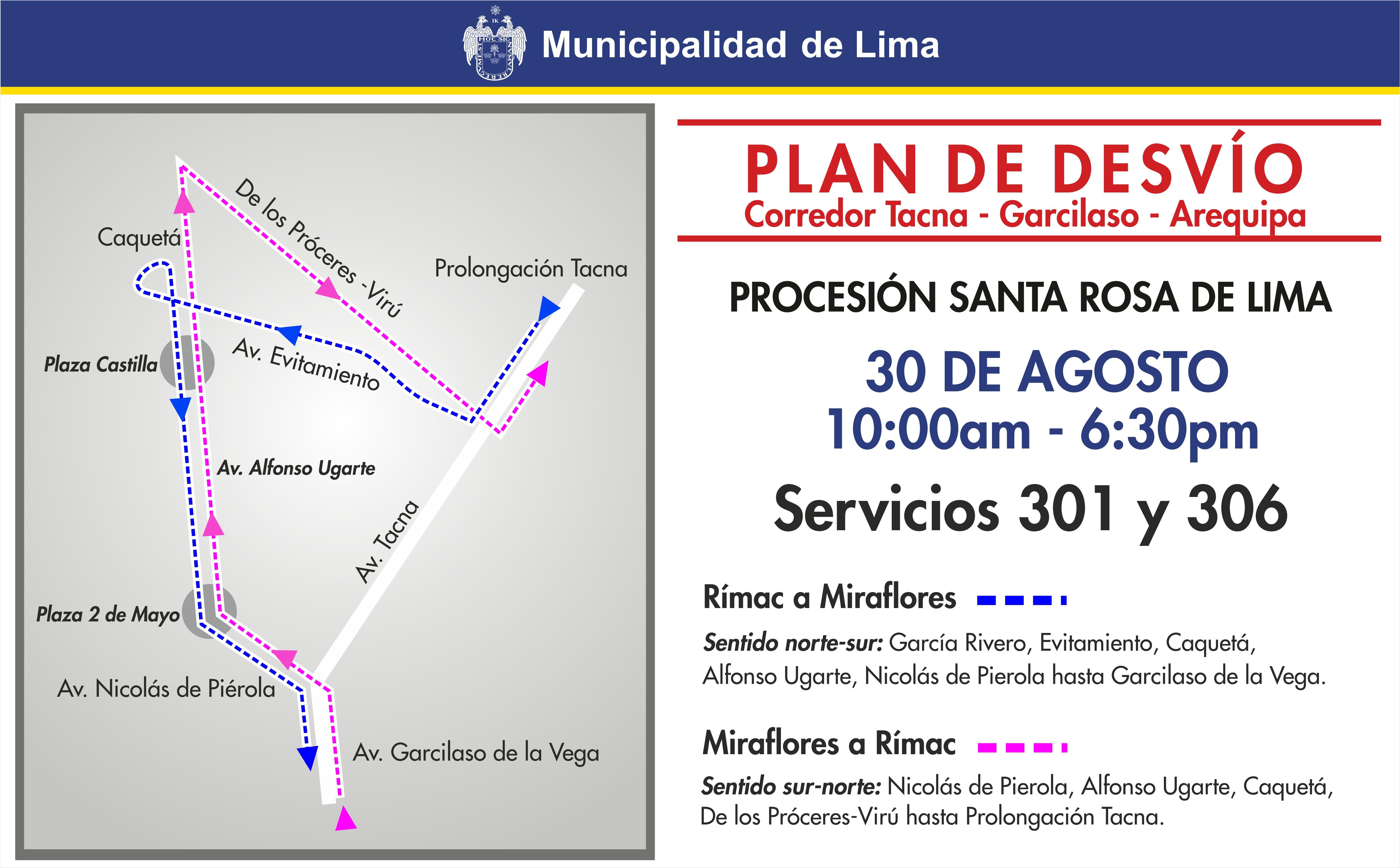 Así serán los desvíos de este domingo por festividad de Santa Rosa de Lima. (Difusión)
