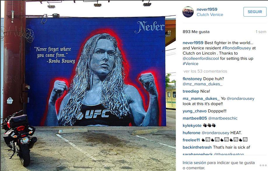 Este es el mural de Ronda Rousey. (Foto: Instagram)