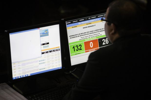 A computer screen shows the final count of Guatemalan lawmakers' votes, withdrawing President Otto Perez Molina's immunity of prosecution, during a congressional session, in Guatemala City, Tuesday, Sept. 1, 2015. With at least 105 of the 158 votes in Congress needed to approve the measure, 132 lawmakers backed the measure. It does not remove Perez Molina, who denies any wrongdoing, from office, but instead means that prosecutors can file criminal charges against him just like any other citizen. (AP Photo/Luis Soto)