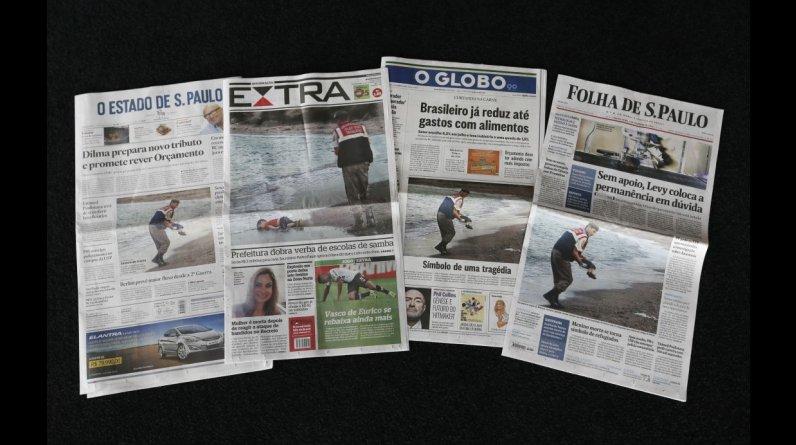 Los diarios más importantes de Brasil y sus portadas con la impactante foto de Aylan Kurdi. (AP Photo/Silvia Izquierdo)