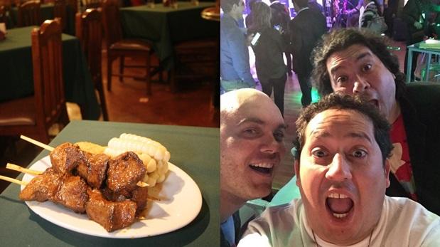 A la izquierda el emblemático plato peruano: anticuchos. A la derecha, Gastón Acurio, Roberto Grau y Diego Alcántara en un selfie tomado por el último y compartido en Twitter.