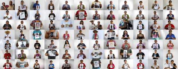 This is an 84-photo composite of people, each holding an image of their missing relative. The photographs of the 84 were shot between April and August of 2015 in the city of Iguala and surrounding towns. The world, and even most of Mexico, paid little attention to Iguala until 43 students from a rural teachers' college disappeared on Sept. 26, 2014. Two months after the students disappeared many other families in the area began coming forward to tell their stories, emboldened by the international attention focused on the missing students. Their message was simple: there are many more missing. They called them ?the other disappeared.? The AP interviewed the relatives of 158 of those missing. Only 84 agreed to be photographed because they are still very fearful. (AP Photo/Dario Lopez-Mills)
