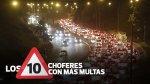 Estos son los 10 choferes con más papeletas en Lima - Noticias de accidente de tránsito