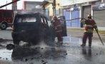 Chimbote: policía salva de morir tras choque e incendio de auto