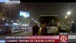 Metropolitano: anciano murió arrollado al intentar cruzar vía - Noticias de marino farias