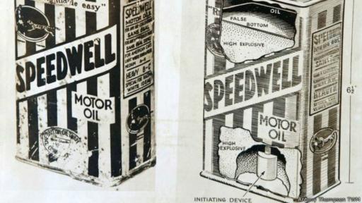Otro de los artilugios bomba documentados era una lata de aceite de automóvil con un explosivo dentro. (Imagen: Antony Thompson TWM)