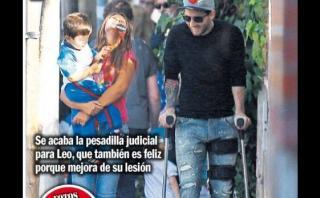 Lionel Messi fue en muletas a recoger a Thiago al colegio