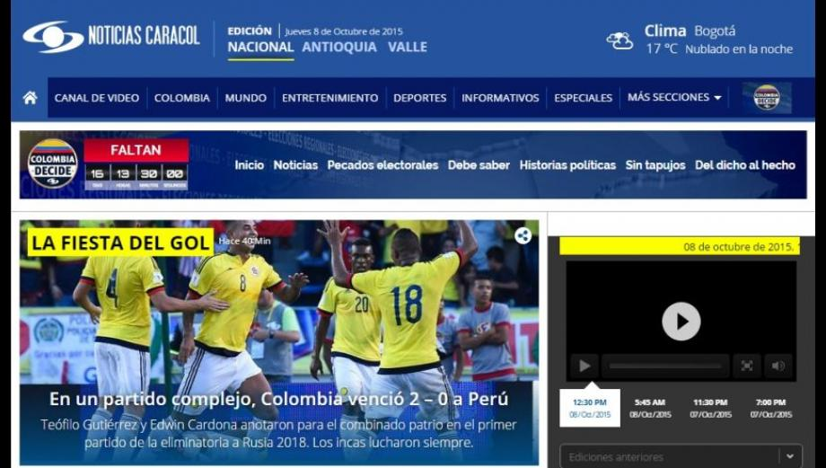 """Prensa colombiana calificó de """"sufrida"""" la victoria ante Perú"""