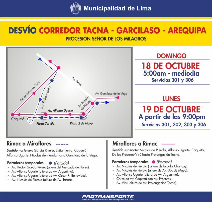 Rutas del Metropolitano y del Corredor TGA sufrirán modificaciones por segunda y tercera procesión del Señor de los Milagros. (Difusión)