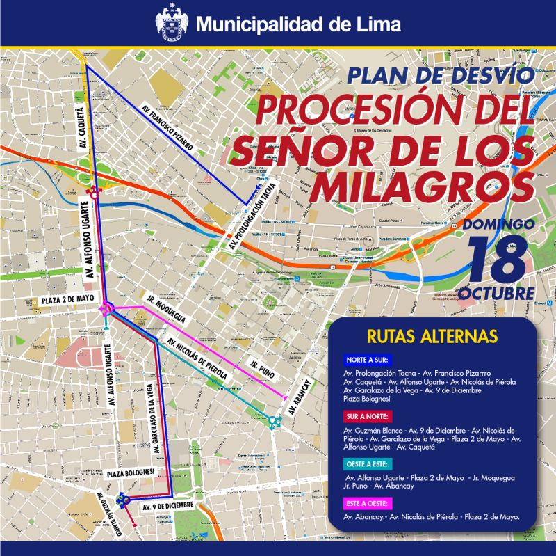 Así serán las rutas alternas por procesión del Señor de los Milagros. (Archivo El Comercio)