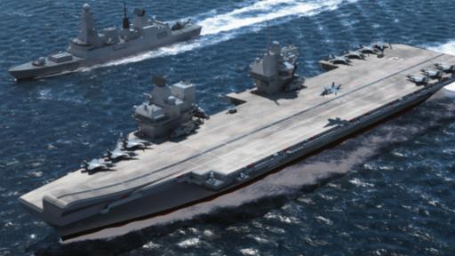 En esta imagen generada por computadora se puede ver lo que será el portaviones clase reina Isabel. (Foto: BAE Systems)